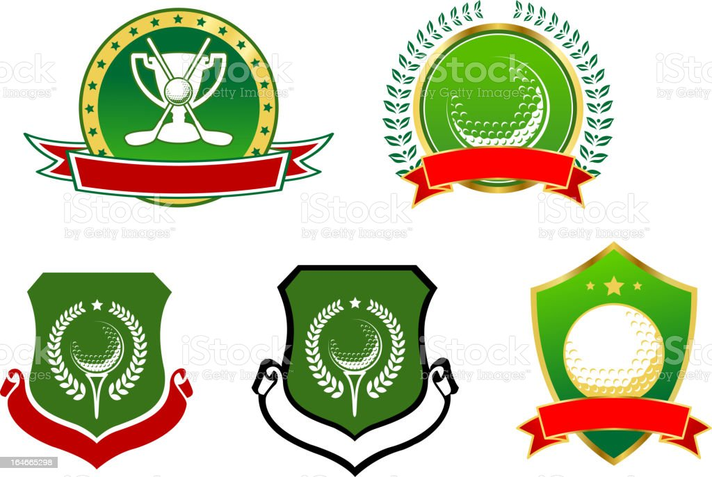 Golf sport icons, emblems and signs royalty-free stock vector art