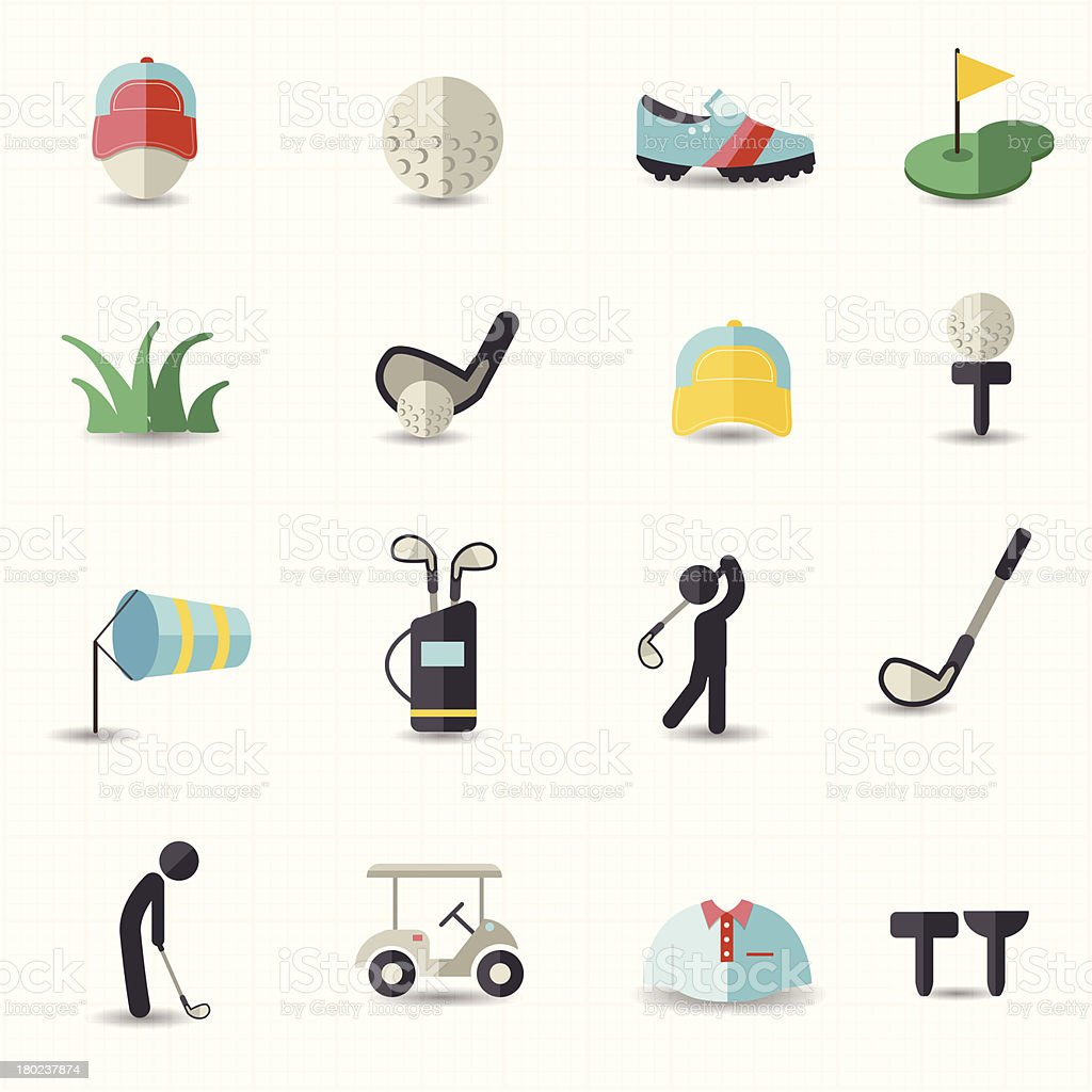 Golf sport icons royalty-free stock vector art