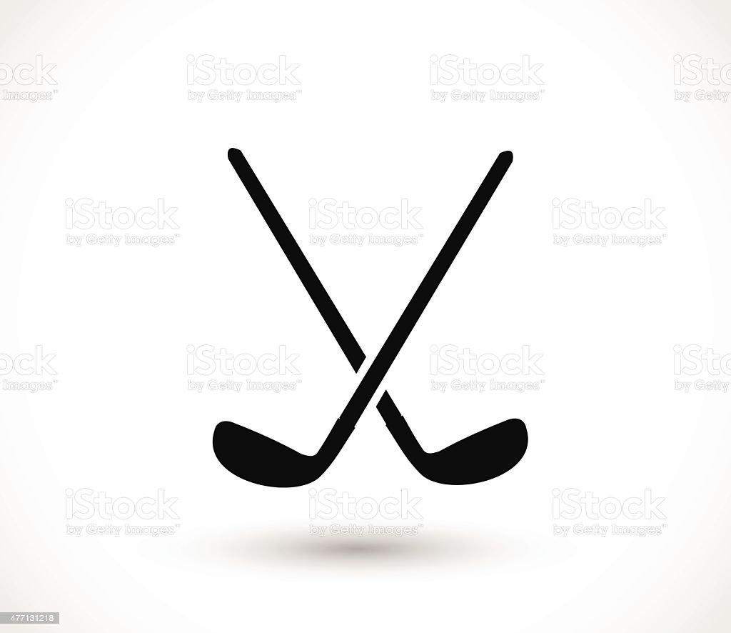 Golf sticks crossed icon vector illustration vector art illustration