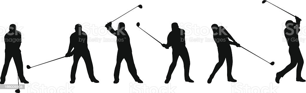 Golf Swing Sequence royalty-free stock vector art