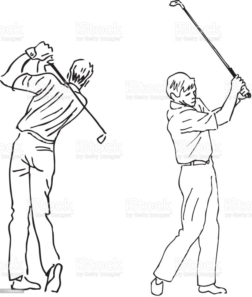 Golf swing vector art illustration