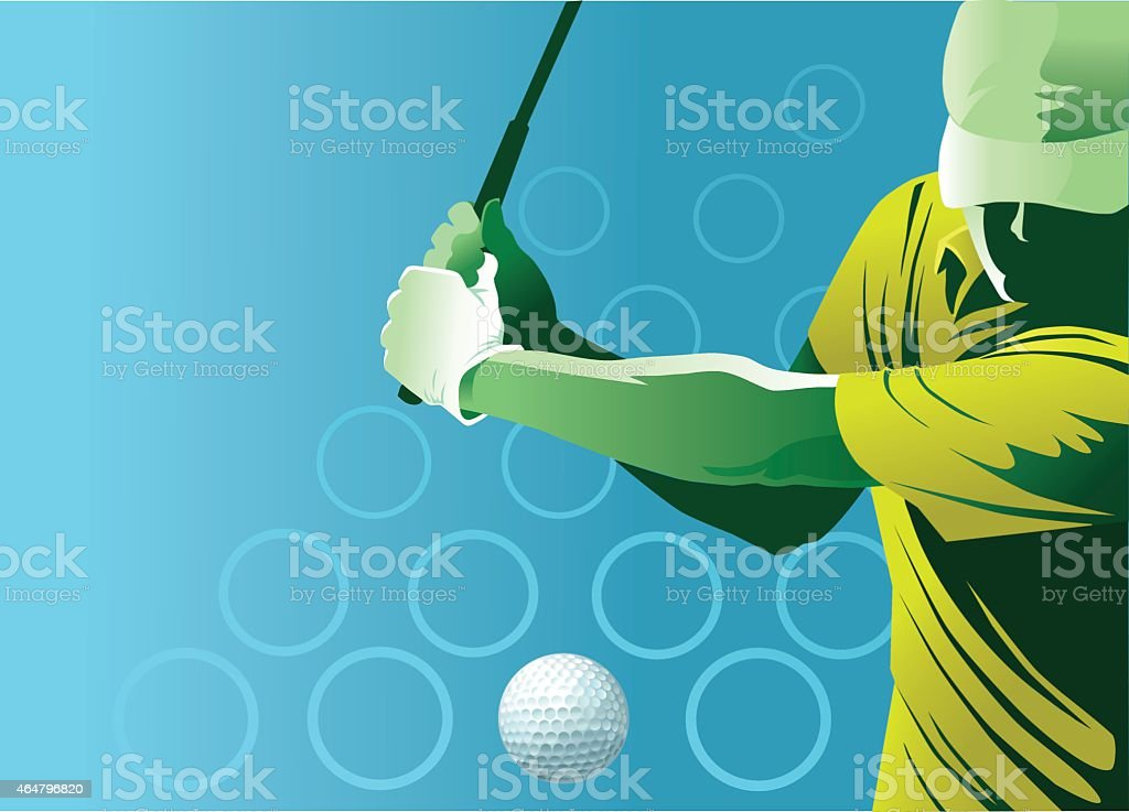Golf Swing With Copy Space vector art illustration