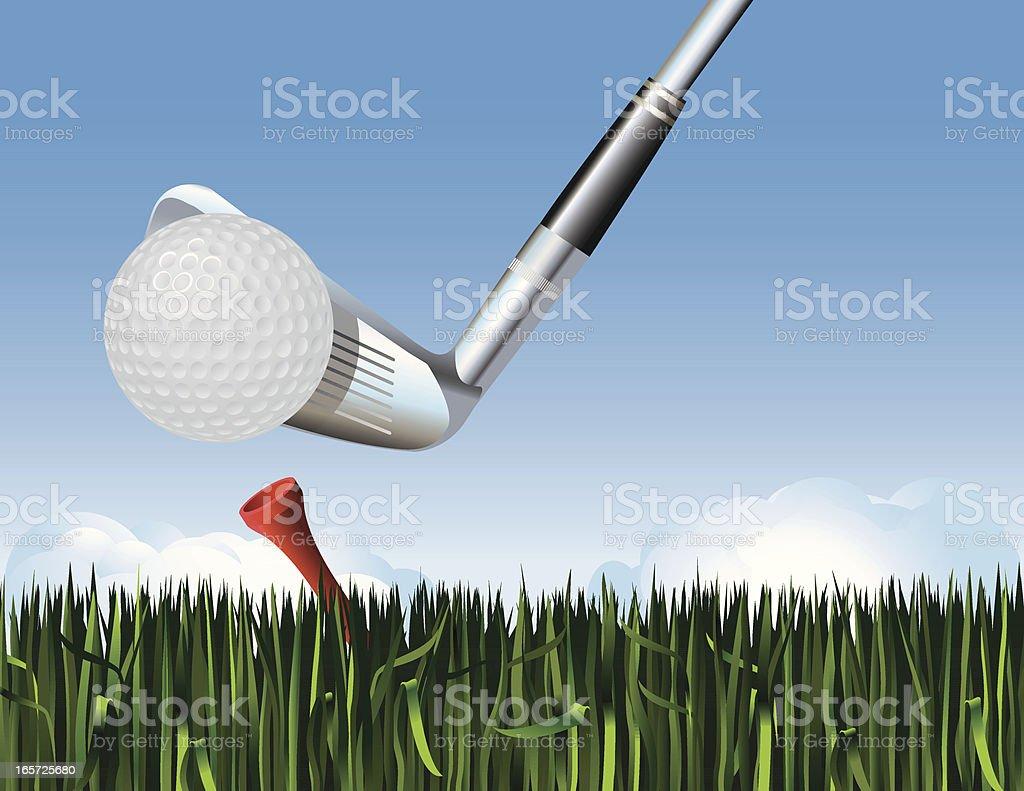 Golf Tee Off vector art illustration