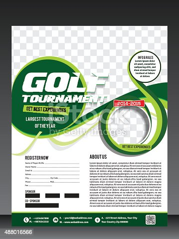 Golf Tournament Flyer Template Stock Vector Art   Istock