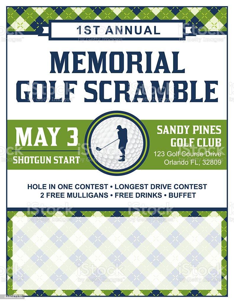Golf Tournament Flyer Template vector art illustration