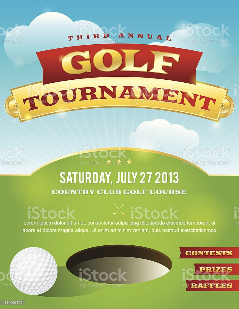 Golf Tournament Invitation Design vector art illustration
