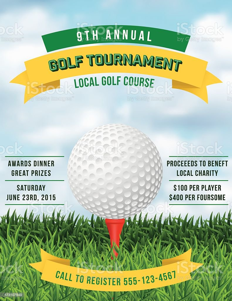 Golf Tournament Invitation Flyer With Grass And Ball vector art illustration