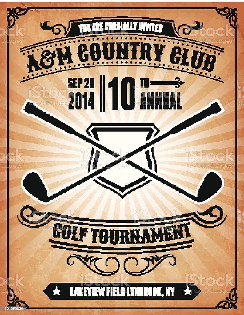 Golf Tournament Invitation on royalty free vector Background Poster vector art illustration