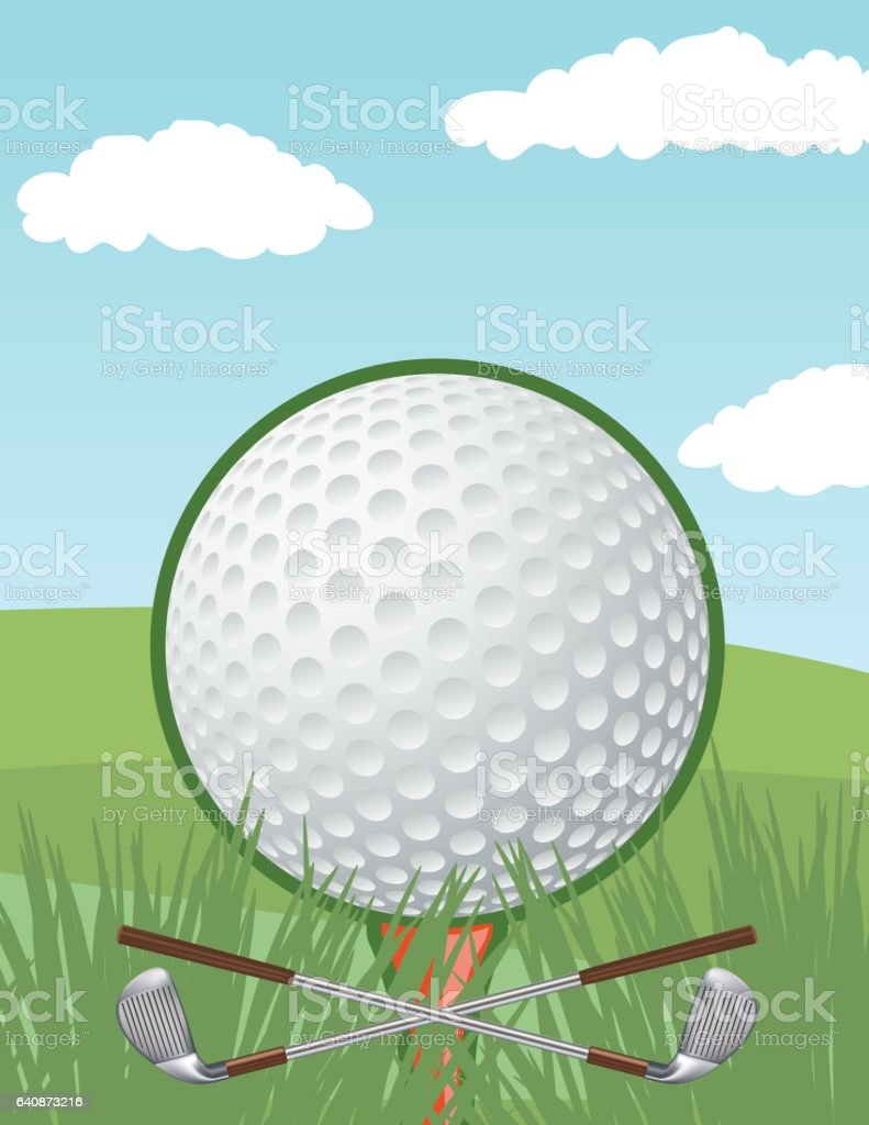 Golf Tournament Template With Putting Green and Flag vector art illustration