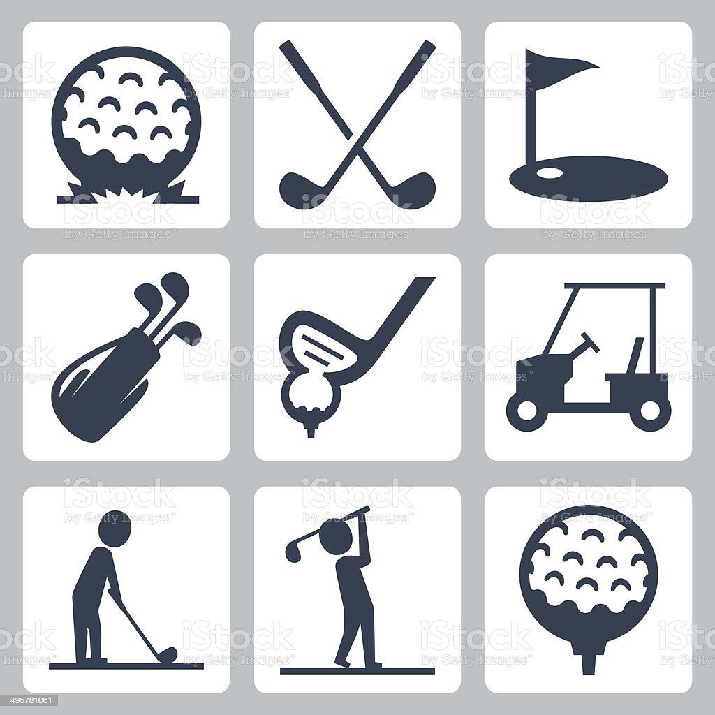 Golf vector icons set vector art illustration
