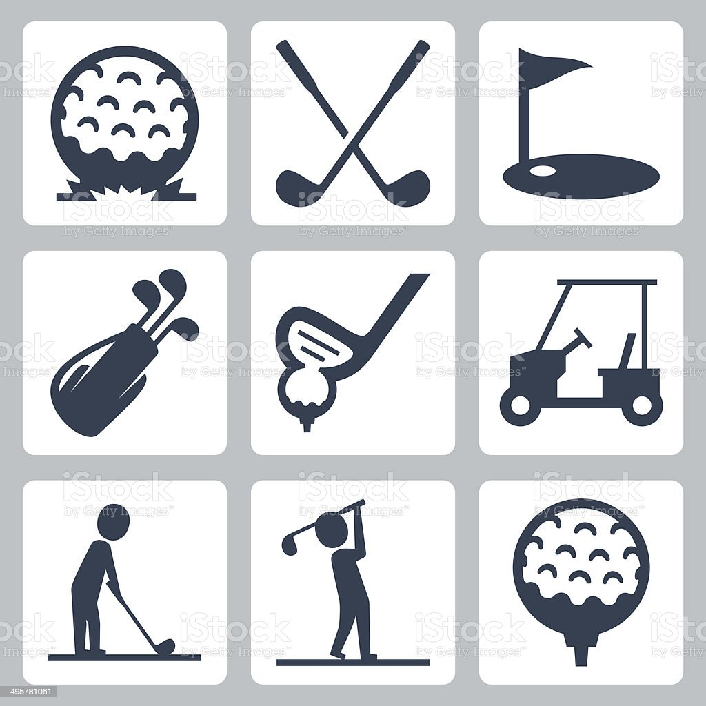 Golf vector icons set vector art illustration