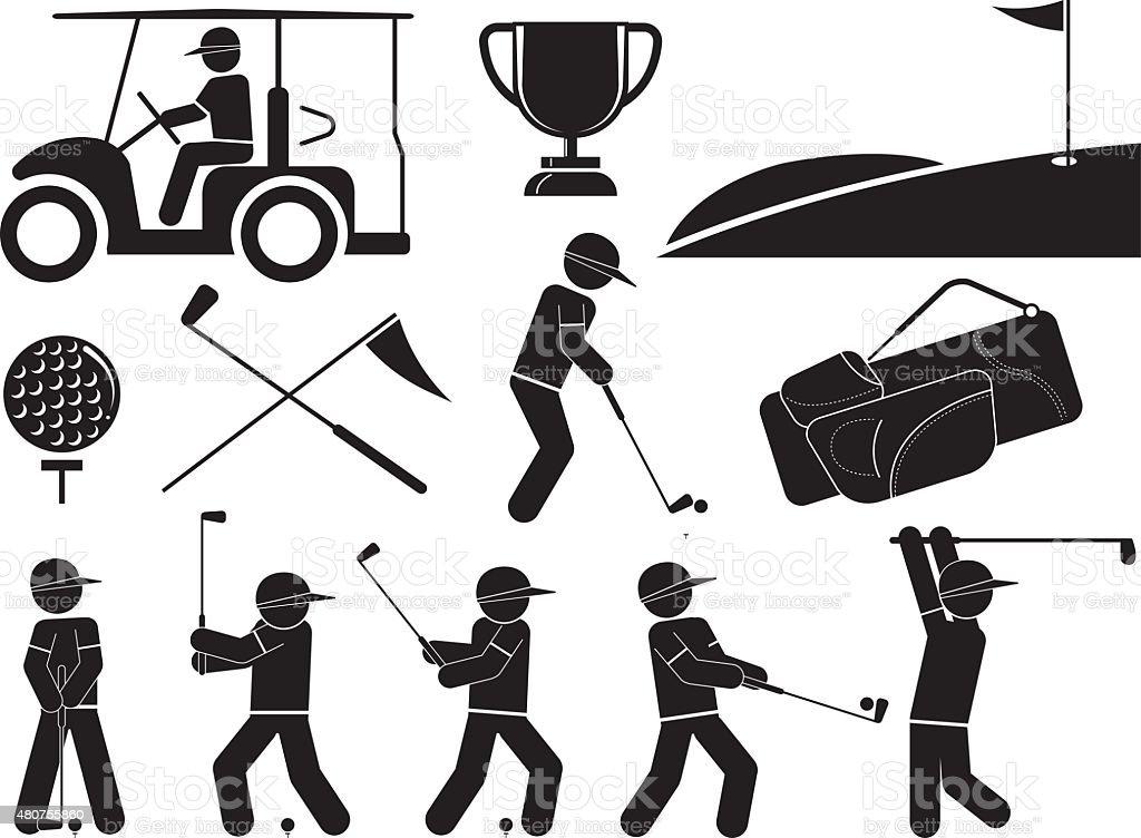 Black And White Golf Icons Set