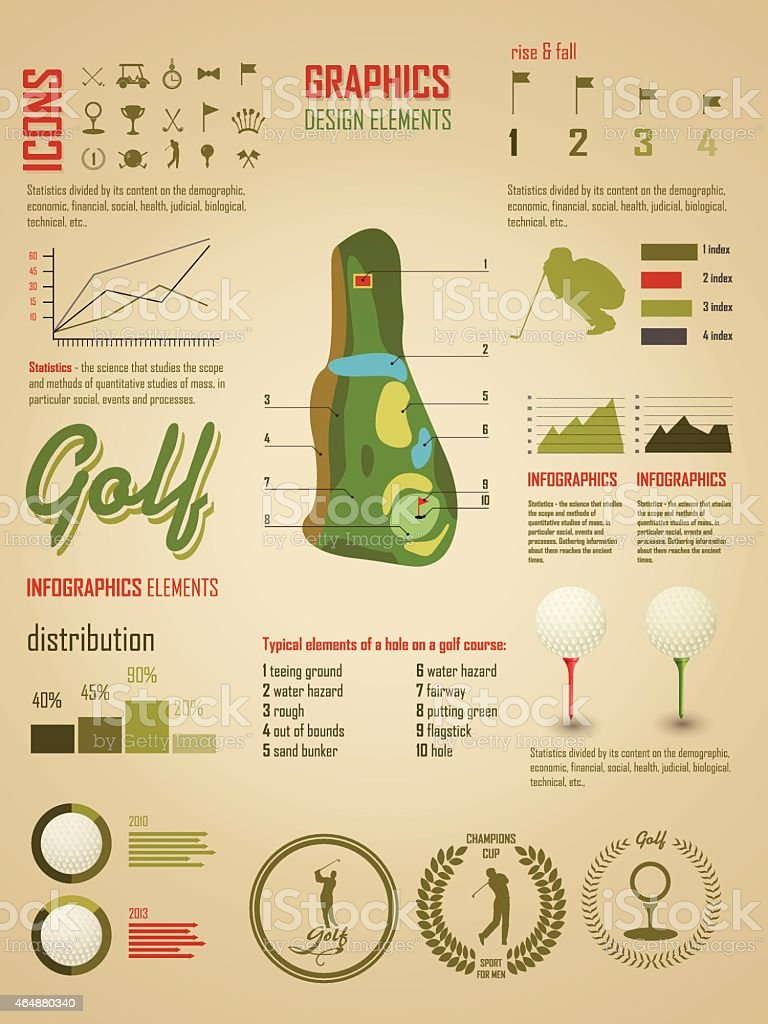 Golf. Vector Labels. Set elements of infographics about golf game vector art illustration