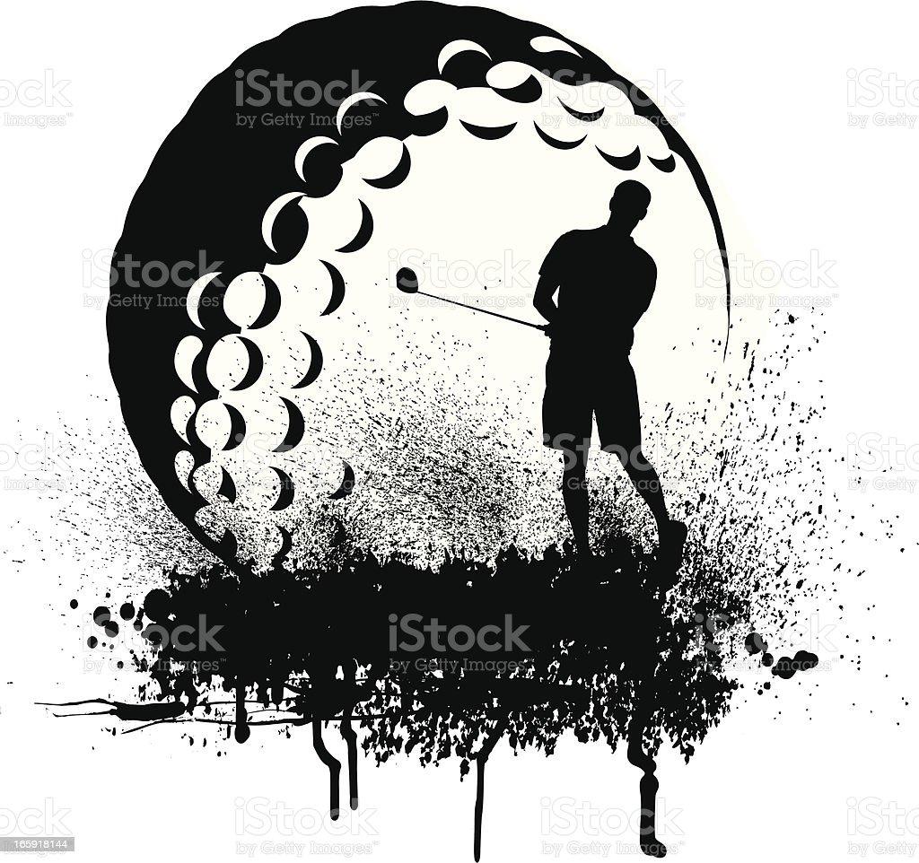 Golfer Golf Ball Grunge Graphic royalty-free stock vector art