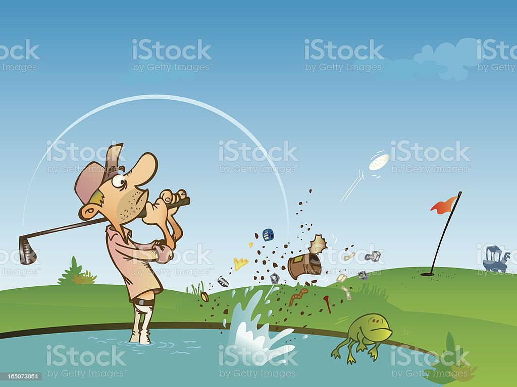 Golfer is shooting from a water hazard royalty-free stock vector art