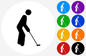 Golfer Playing Icon on Flat Color Circle Buttons