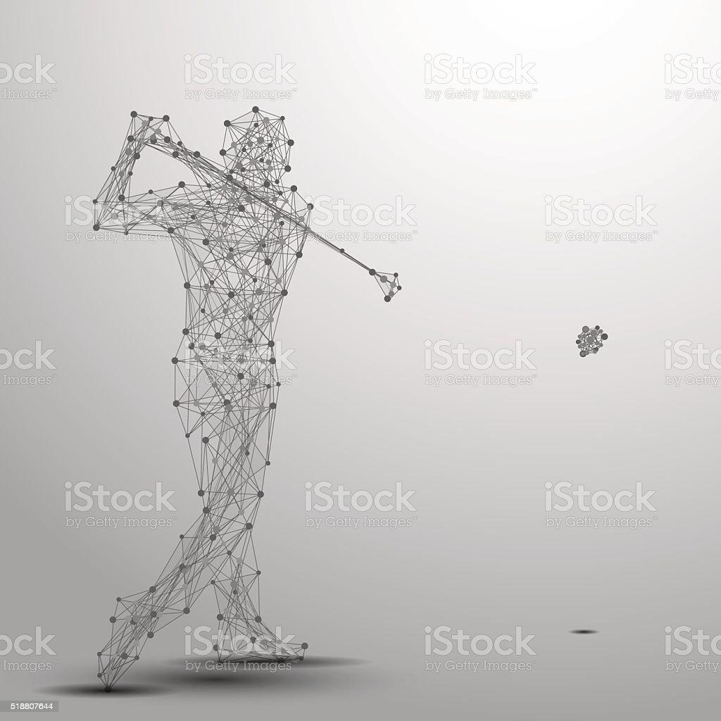 golfer poly gray vector art illustration