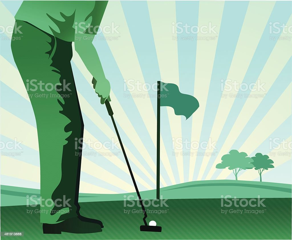 Golfer Putting - Golf Player in Blue and Green vector art illustration