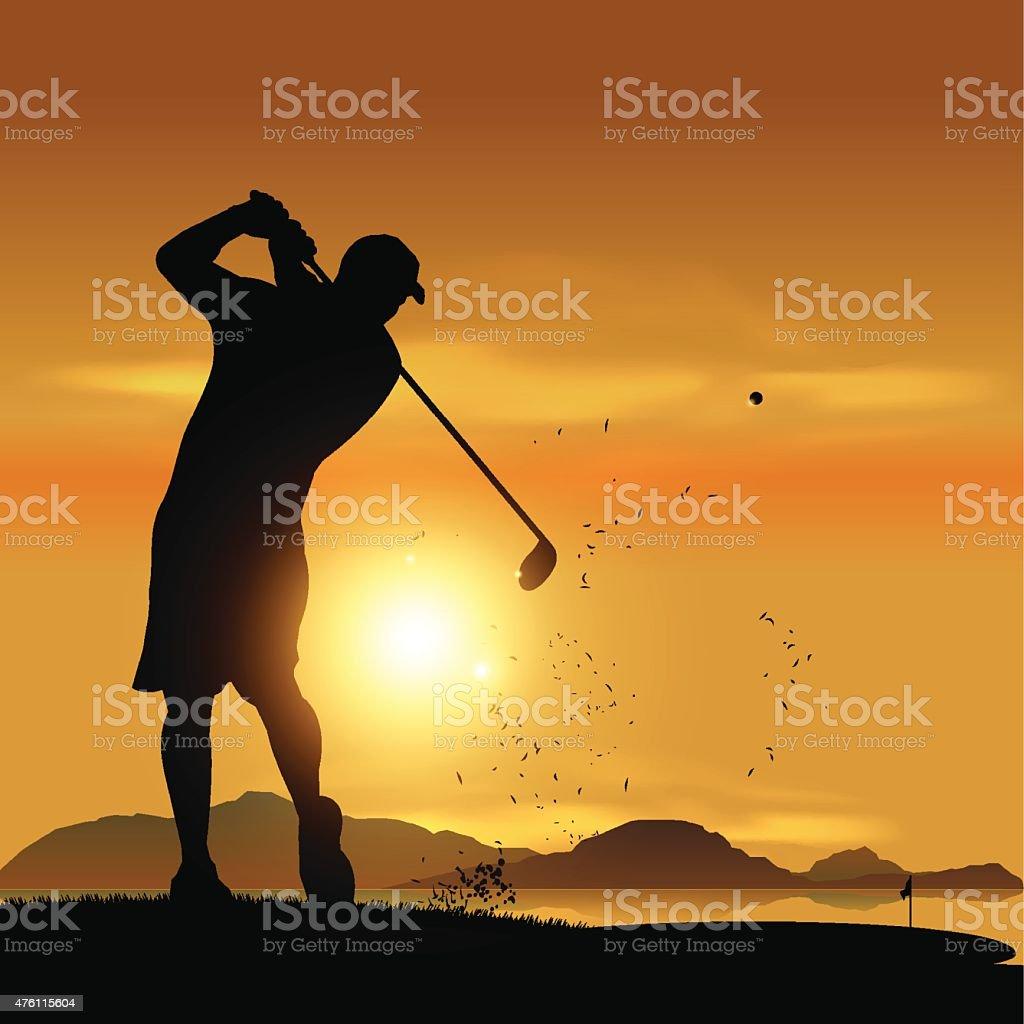 Golfer silhouette at sunset vector art illustration