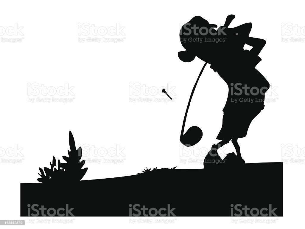 Golfer silhouette shooting royalty-free stock vector art