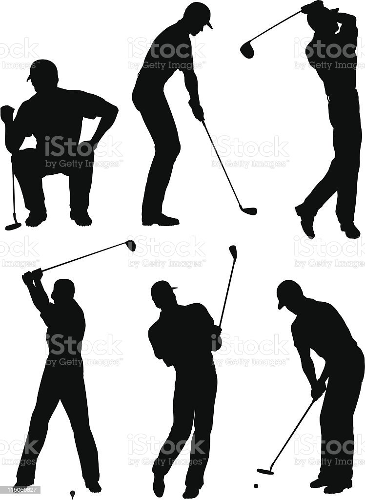 Golfer silhouettes royalty-free stock vector art
