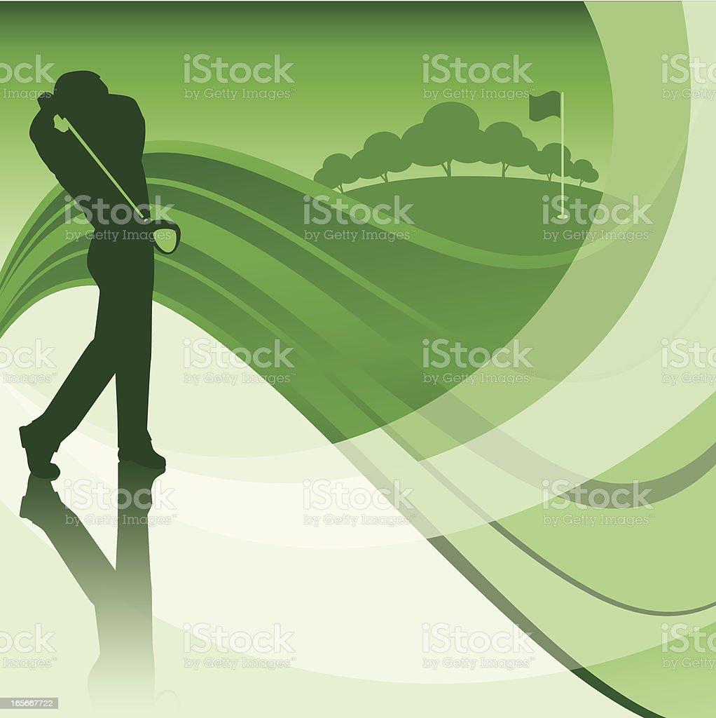 golfer swinging background vector art illustration