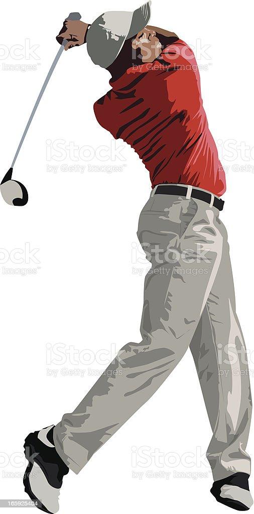 Golfer Swinging Club vector art illustration