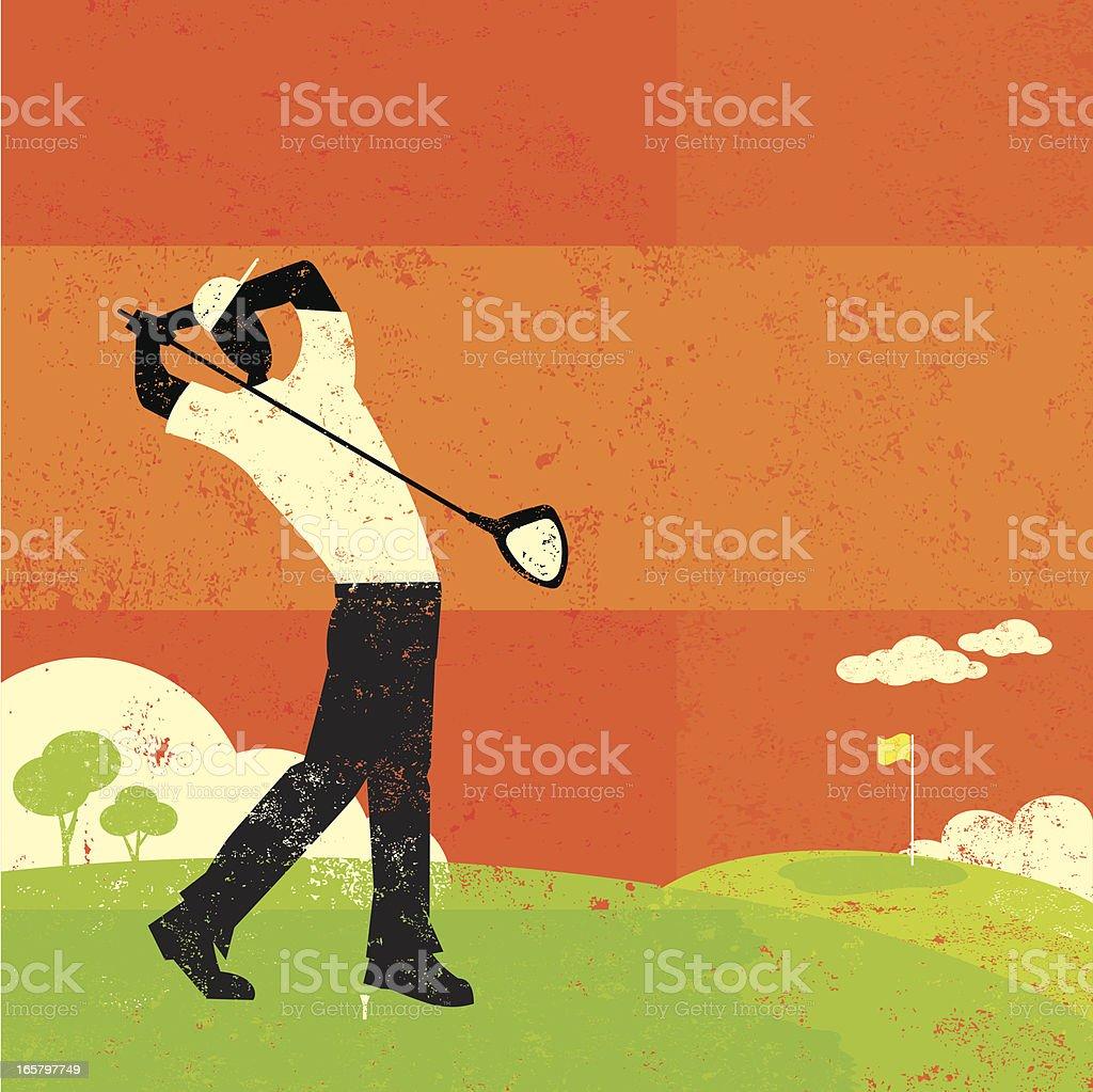 Golfer swinging vector art illustration