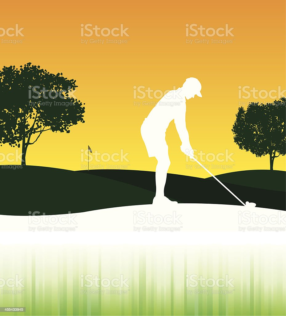 Golfer Teeing Off - Background vector art illustration