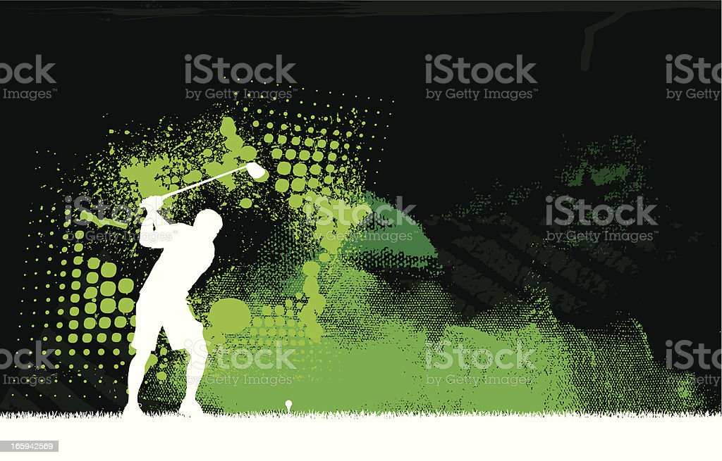 Golfer Teeing Off - Golf Graphic Background vector art illustration