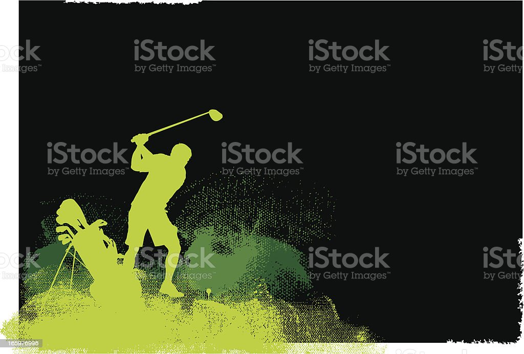 Golfer Teeing Off - Golf Grunge Graphic Background royalty-free stock vector art