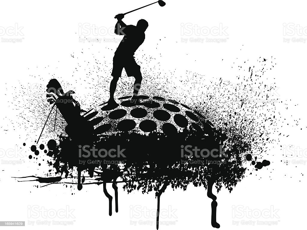 Golfer Teeing Off - Golf Grunge Graphic royalty-free stock vector art