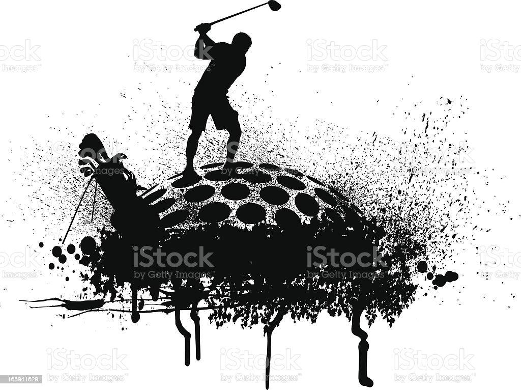 Golfer Teeing Off - Golf Grunge Graphic vector art illustration
