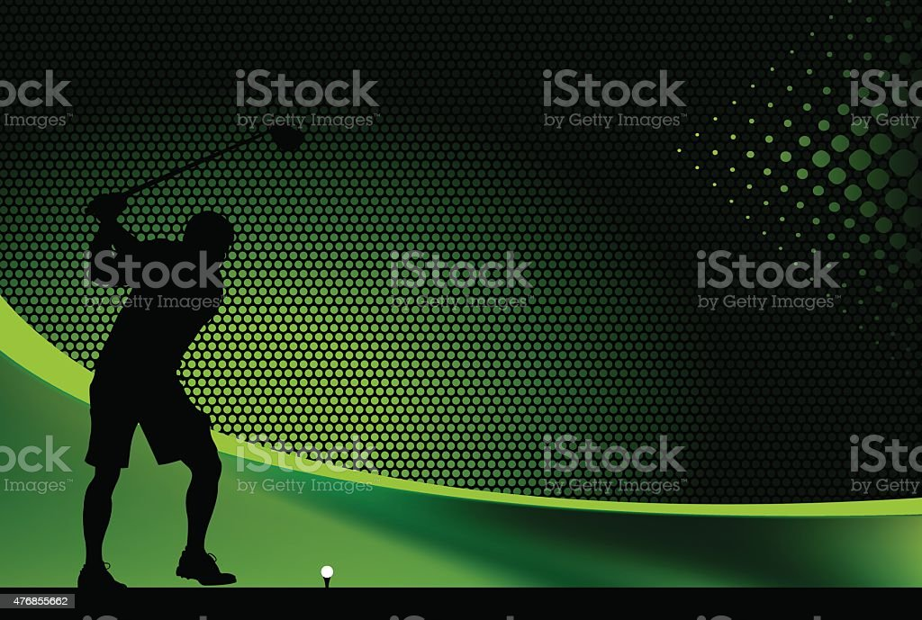 Golfer Teeing Off Graphic Background vector art illustration