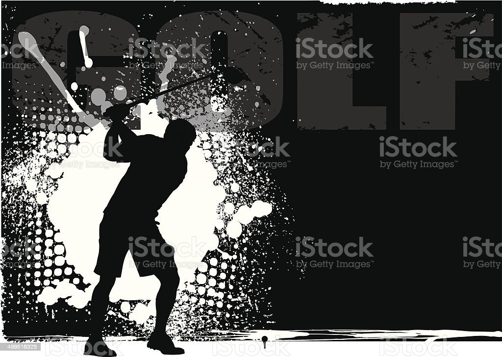 Golfer Teeing Off Grunge Background royalty-free stock vector art