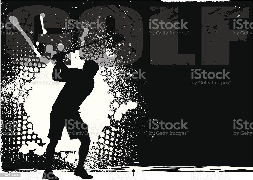 Golfer Teeing Off Grunge Background vector art illustration
