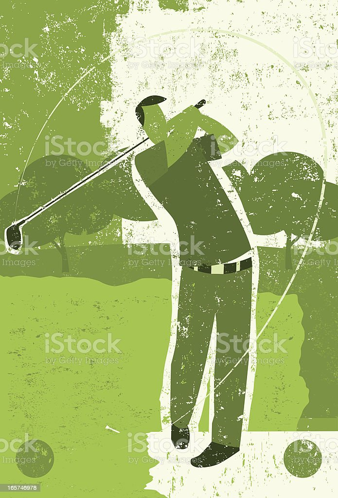 golfer teeing off royalty-free stock vector art