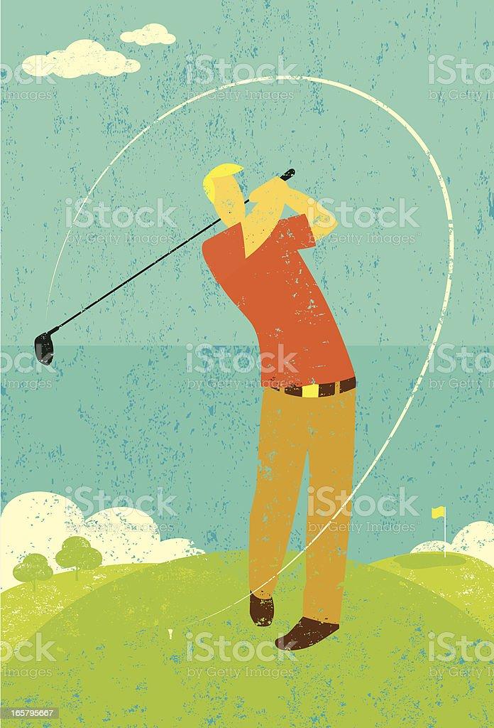 Golfer teeing off vector art illustration