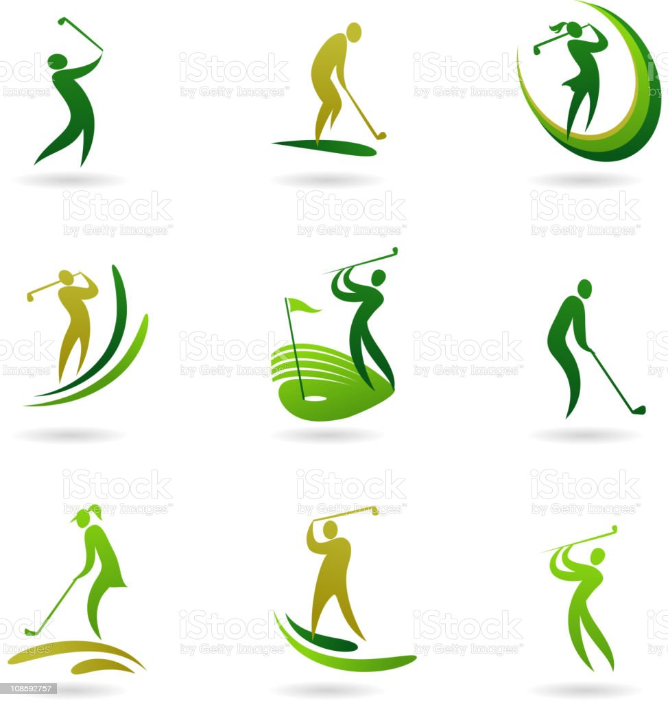 Golfers icons royalty-free stock vector art