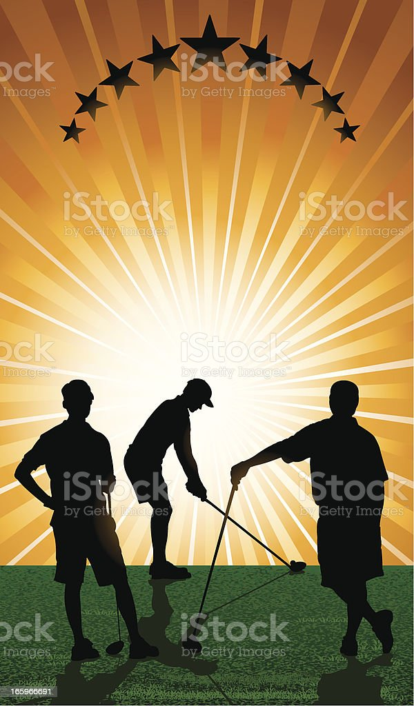 Golfers Teeing Off - Background royalty-free stock vector art