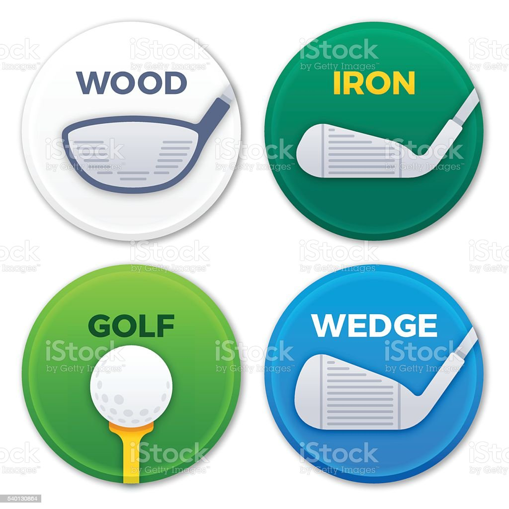 Golfing Clubs Symbols and Icons vector art illustration