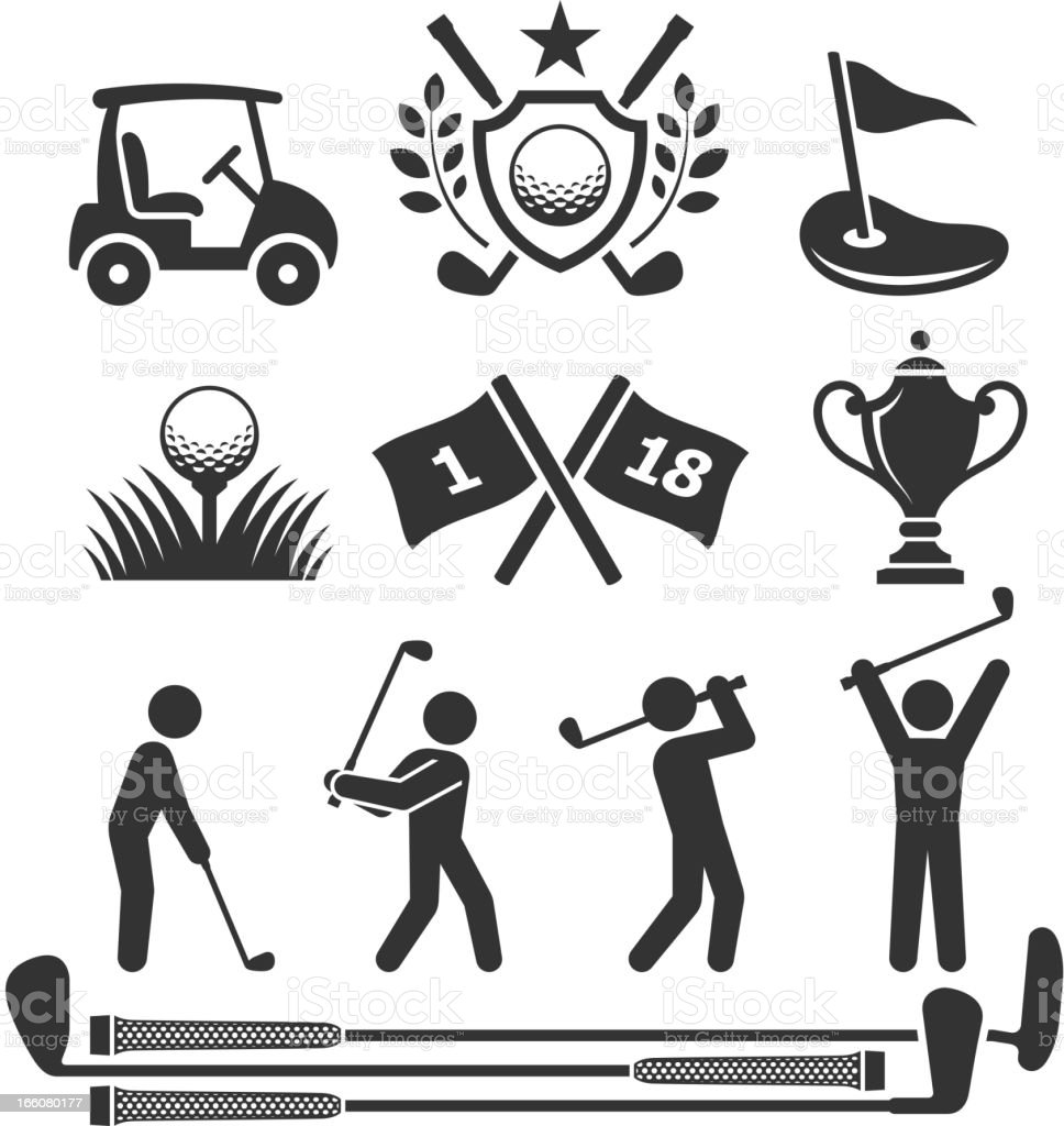 Golfing icons and stick figures royalty-free stock vector art