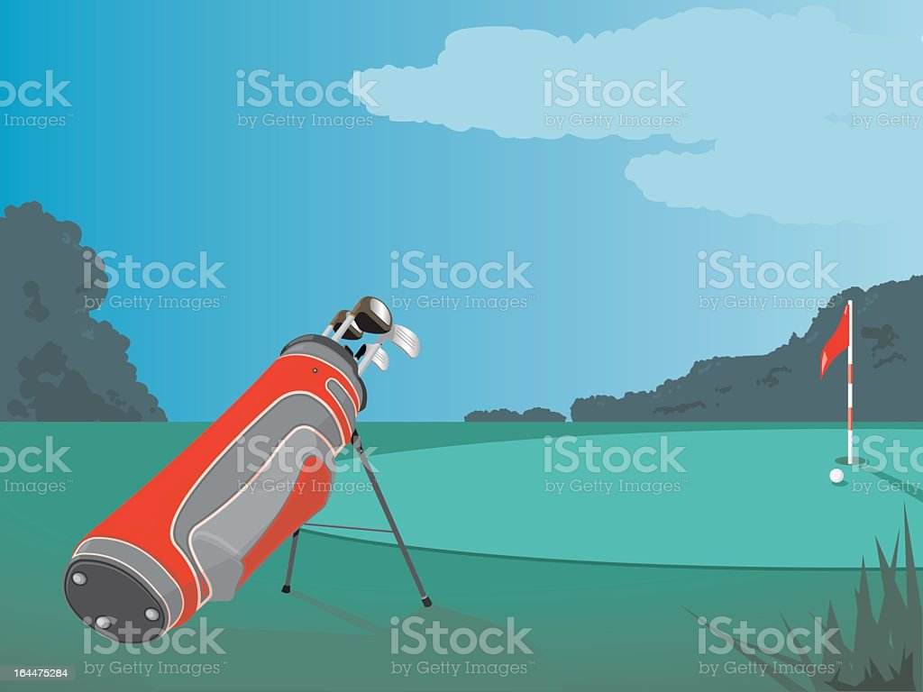 Golfing Scene vector art illustration
