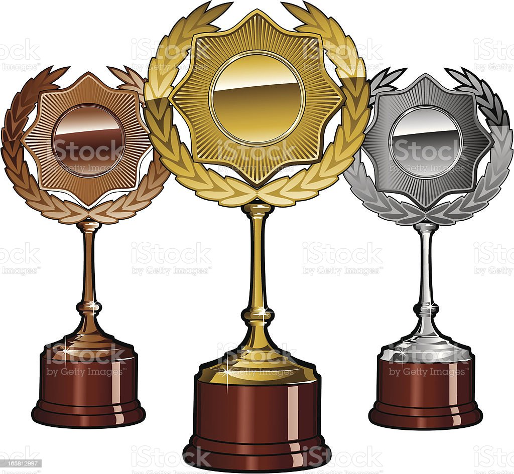 Gols, silver and bronze trophy set royalty-free stock vector art