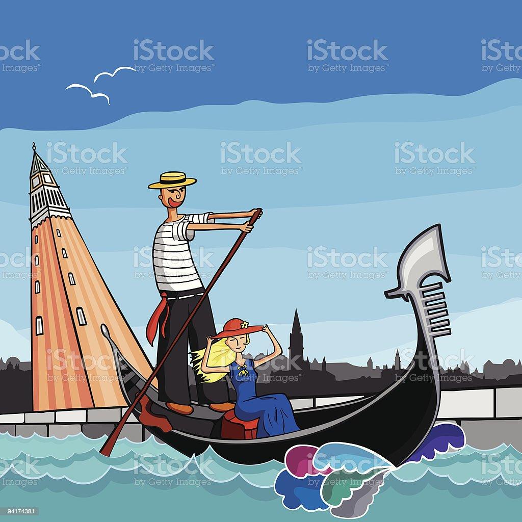 Gondola holiday in Venice Italy vector art illustration
