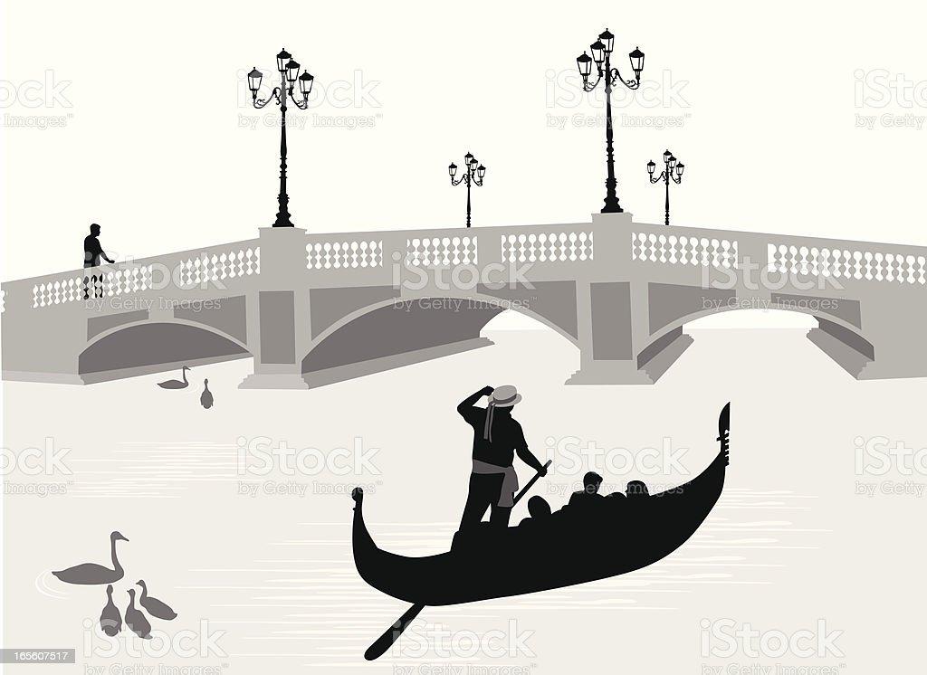 Gondola'n Bridge Vector Silhouette vector art illustration