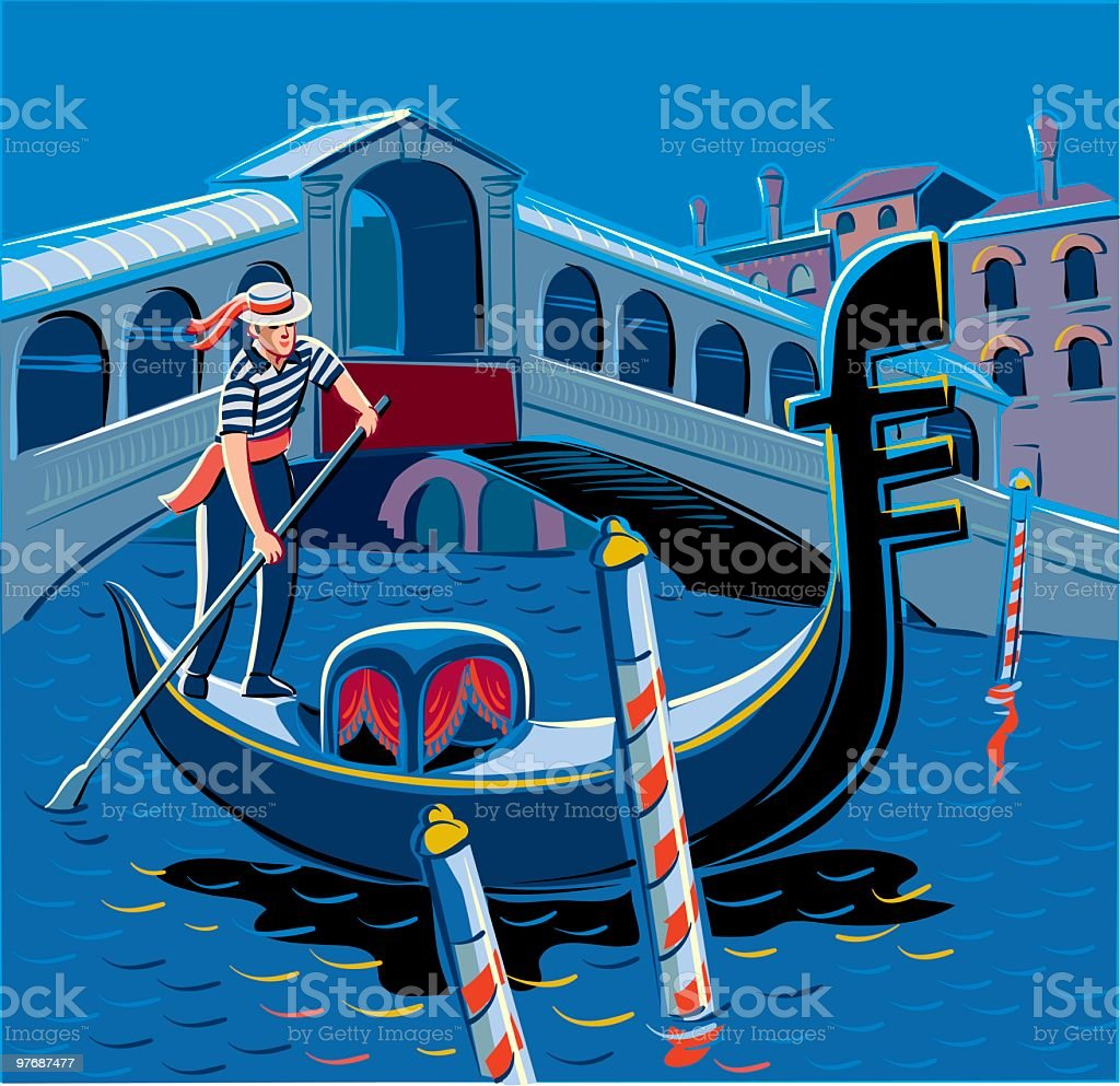 Gondoliere a Venezia royalty-free stock vector art