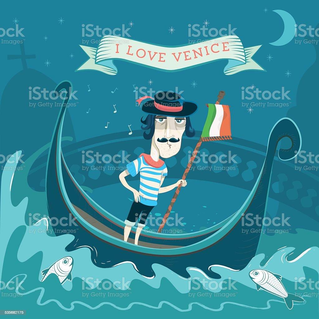 gondoliere of venice vector art illustration