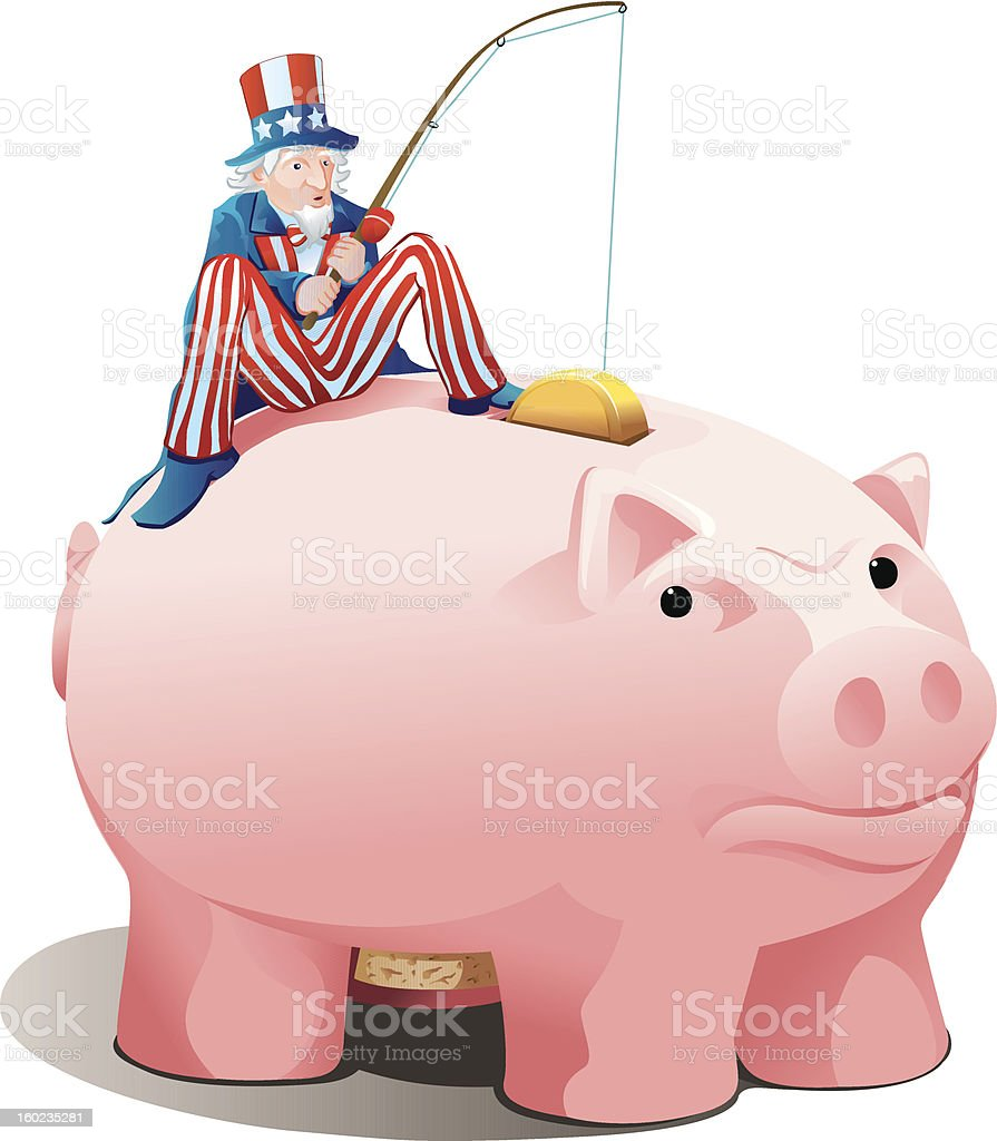 Gone Fishing with Uncle Sam vector art illustration