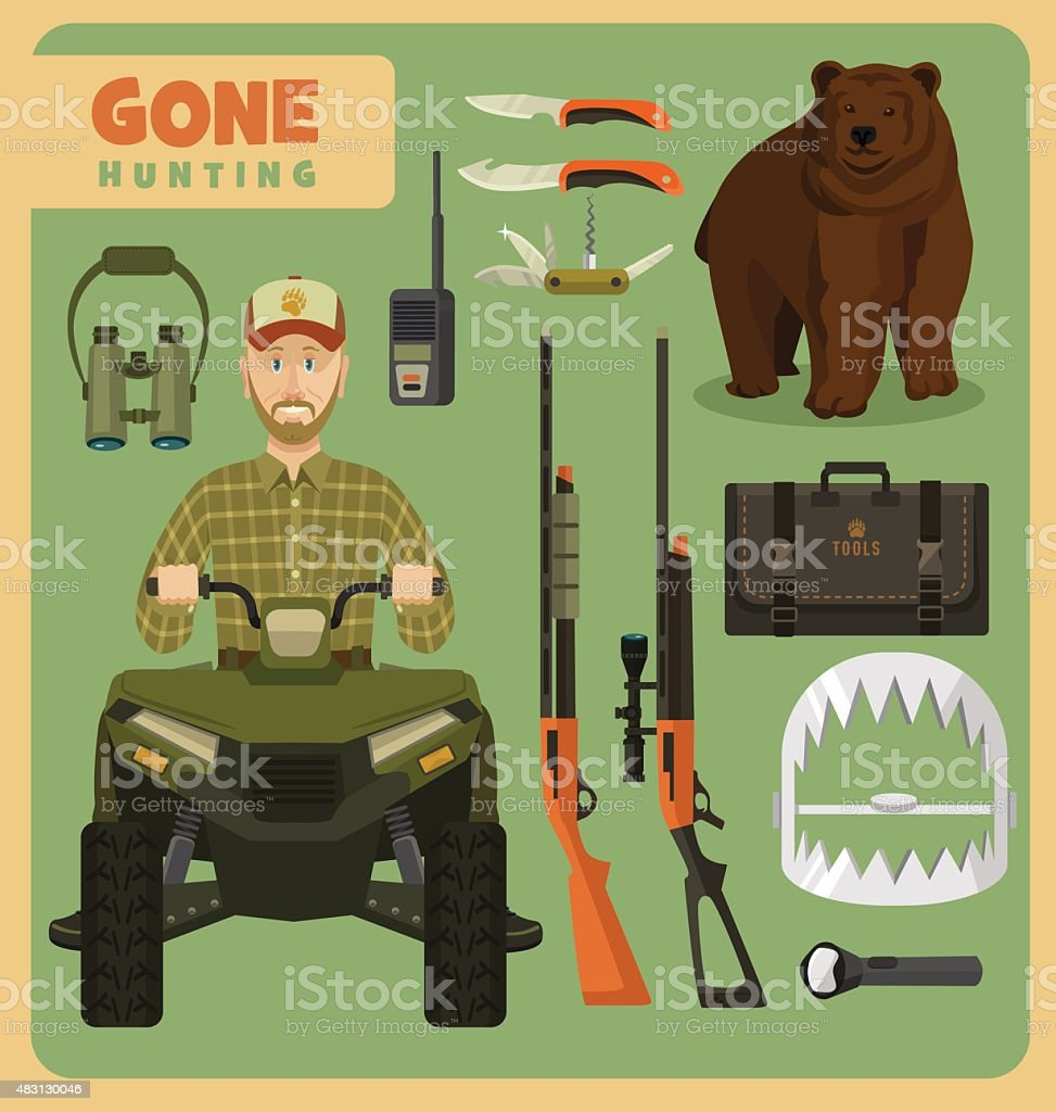 Gone hunting bear vector art illustration